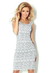 Villette Dopasowana sukienka - ecru + etniczne szare wzory